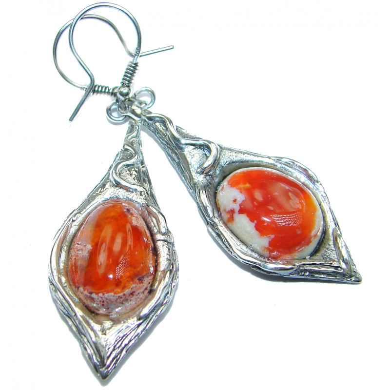 Rustic Design authentic Mexican Fire Opal .925 Sterling Silver handcrafted earrings