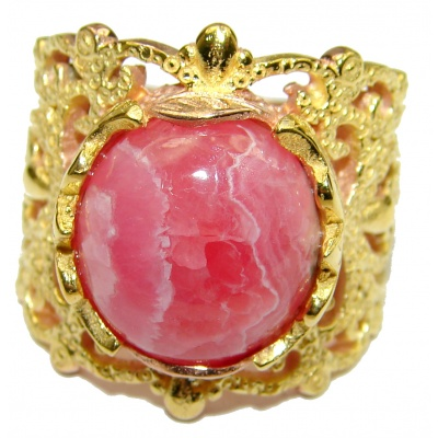 Argentinian Rhodochrosite 14K Gold over .925 Sterling Silver handmade ring size 8