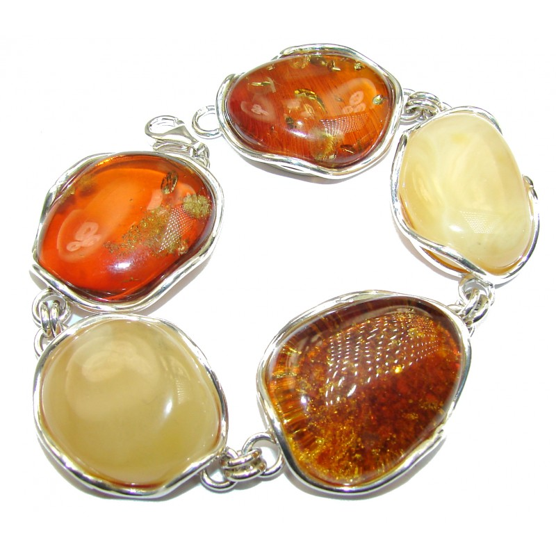 Beautiful Butterscotch AAA Baltic Polish Amber .925 Sterling Silver handcrafted Bracelet