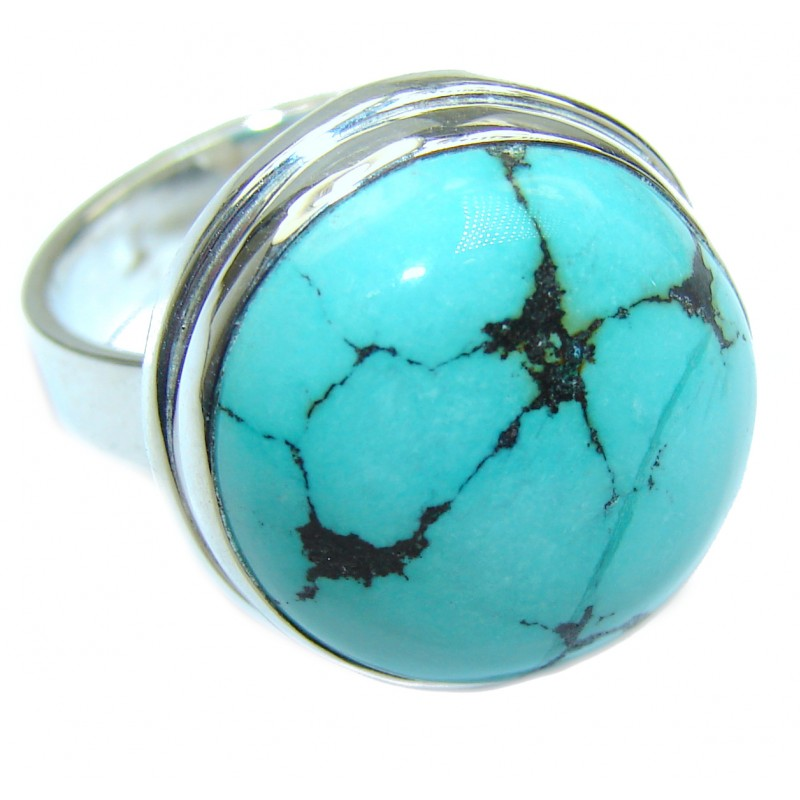 Huge genuine Turquoise .925 Sterling Silver ring; s. 9 3/4