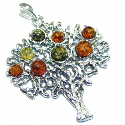 Family Tree Multicolor Baltic Amber .925 Sterling Silver handcrafted Pendant