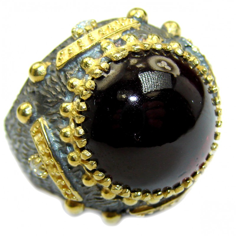 Genuine 28 ct Garnet 14ct Gold over .925 Sterling Silver handmade Cocktail Ring s. 8