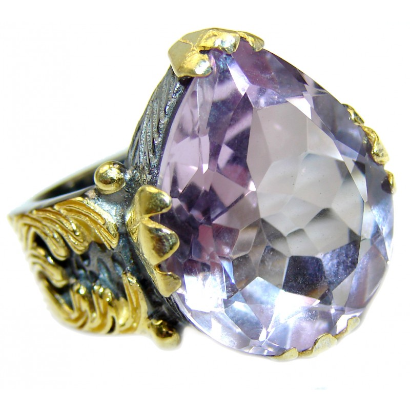 Spectacular genuine Pink Amethyst 14K Gold over .925 Sterling Silver handcrafted Ring size 8