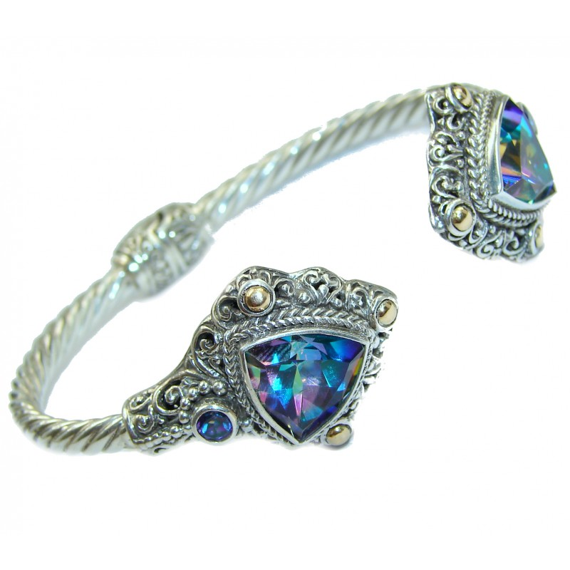 Chunky Luxury Blue Magic Topaz .925 Sterling Silver handmade Hinged Cuff/Bracelet