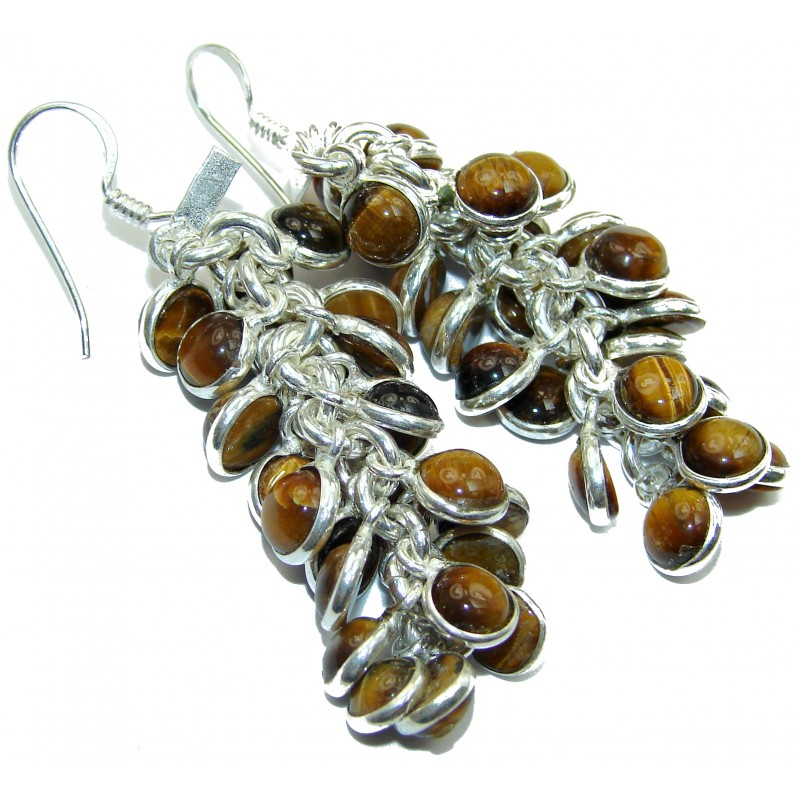 Sublime Golden Tigers Eye .925 Sterling Silver handmade Cha- Cha earrings