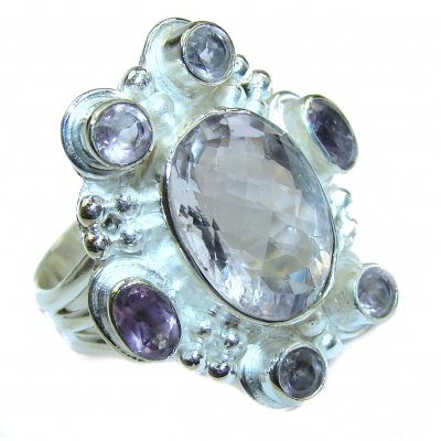 Pink Amethyst .925 Sterling Silver handmade ring size 8