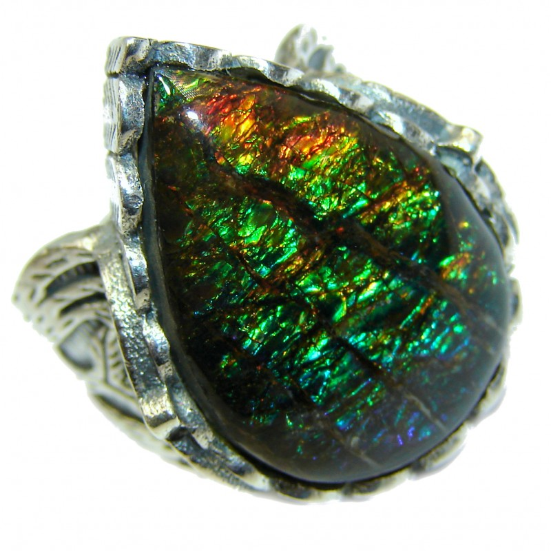 Pure Energy Genuine Canadian Ammolite .925 Sterling Silver handmade ring size 6