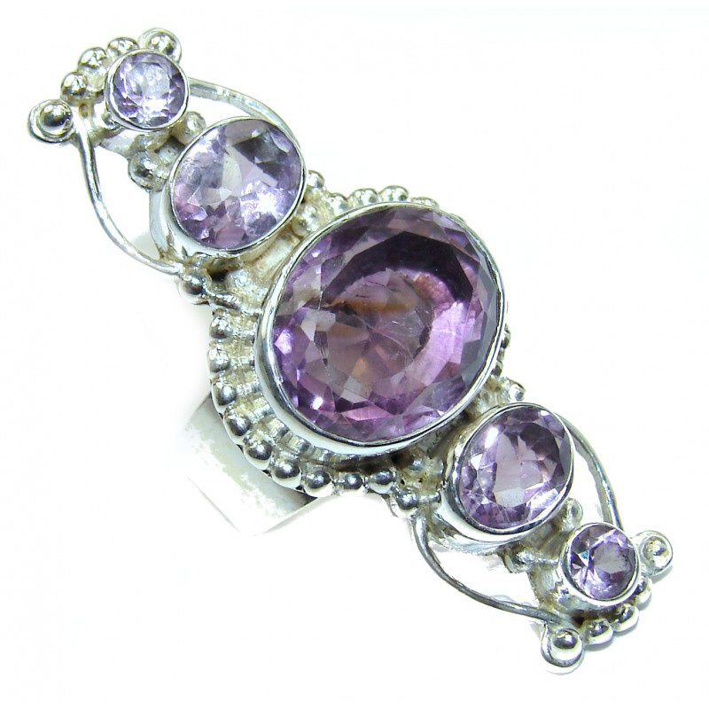 Spectacular genuine Amethyst .925 Sterling Silver handcrafted Ring size 5 3/4