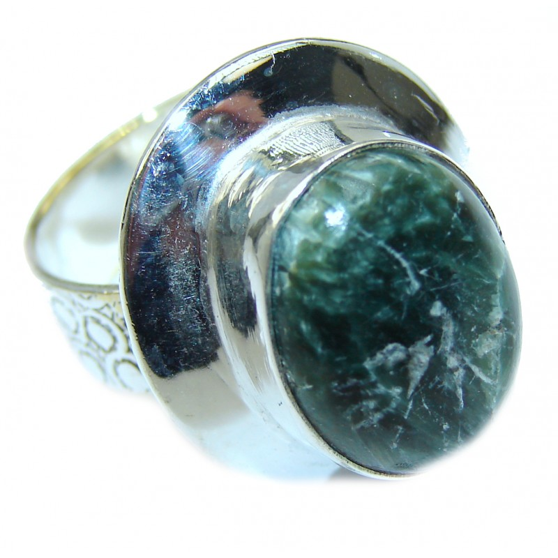 Great quality Russian Seraphinite .925 Sterling Silver handcrafted Ring size 8