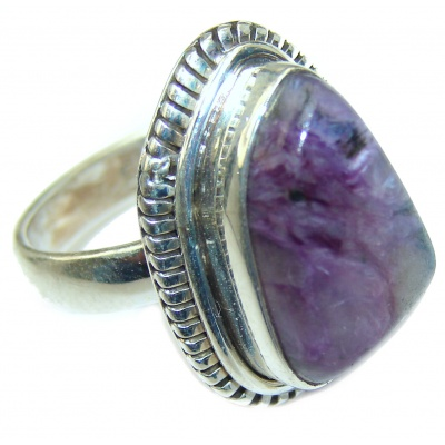 Perfect Charoite .925 Sterling Silver handmade Ring s. 6 1/2