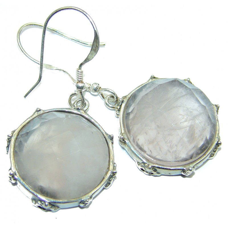 Authentic Rose Quartz .925 Sterling Silver handmade earrings