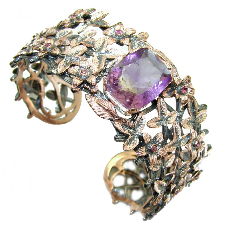 Real Treasure Genuine Amethyst Rose Gold Rhodium over .925 Sterling Silver Bracelet / Cuff