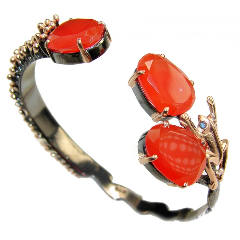 Golden Fruits Burgundy Carnelian Gold over .925 Sterling Silver Bracelet / Cuff