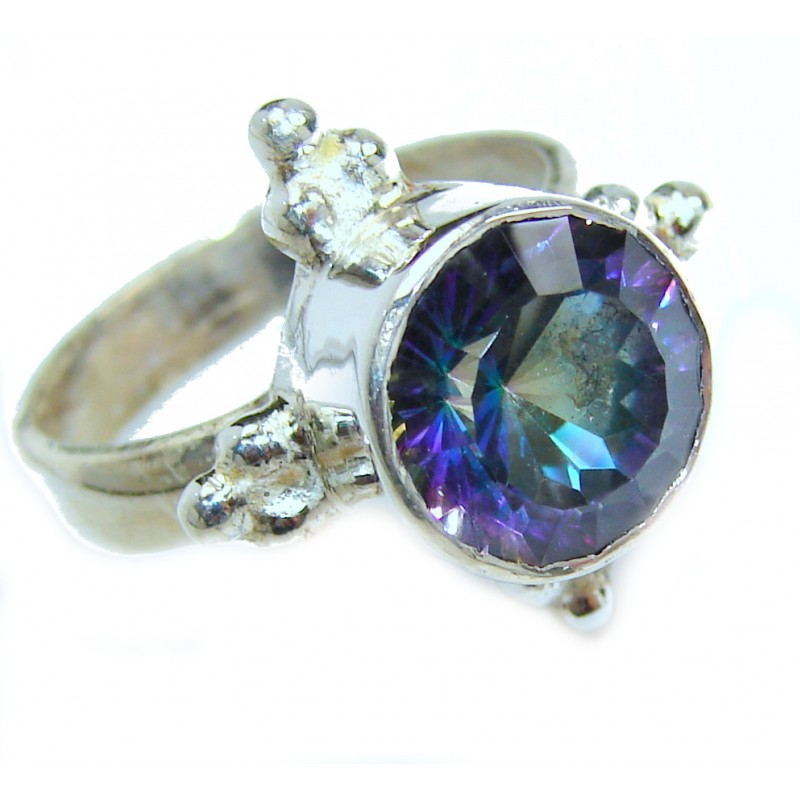 Huge Exotic Magic Topaz .925 Sterling Silver handcrafted Ring s. 6 1/4