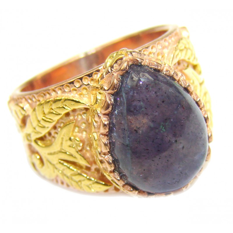 Authentic 27ct Tanzanite 14K Gold over .925 Sterling Silver handmade Ring s. 6 1/4