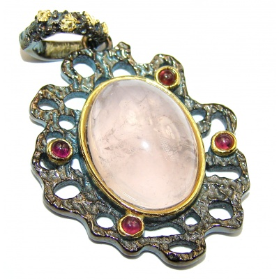 Pink Power Rose Quartz .925 Sterling Silver handcrafted Pendant