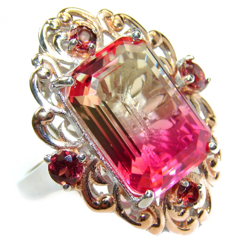 HUGE Emerald cut Volcanic Pink Touramaline Topaz .925 Sterling Silver handcrafted Ring s. 8 3/4