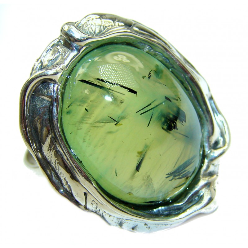 Huge Natural Moss Prehnite .925 Sterling Silver handmade ring s. 7 adjustable