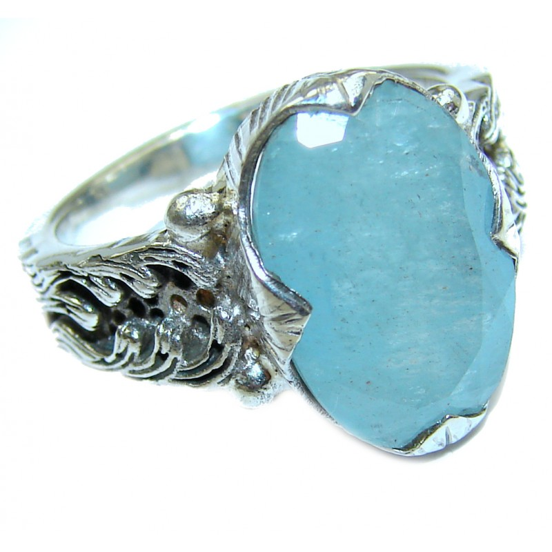 Antique Design Blue Aquamarine .925 Sterling Silver handmade ring s. 7 1/4