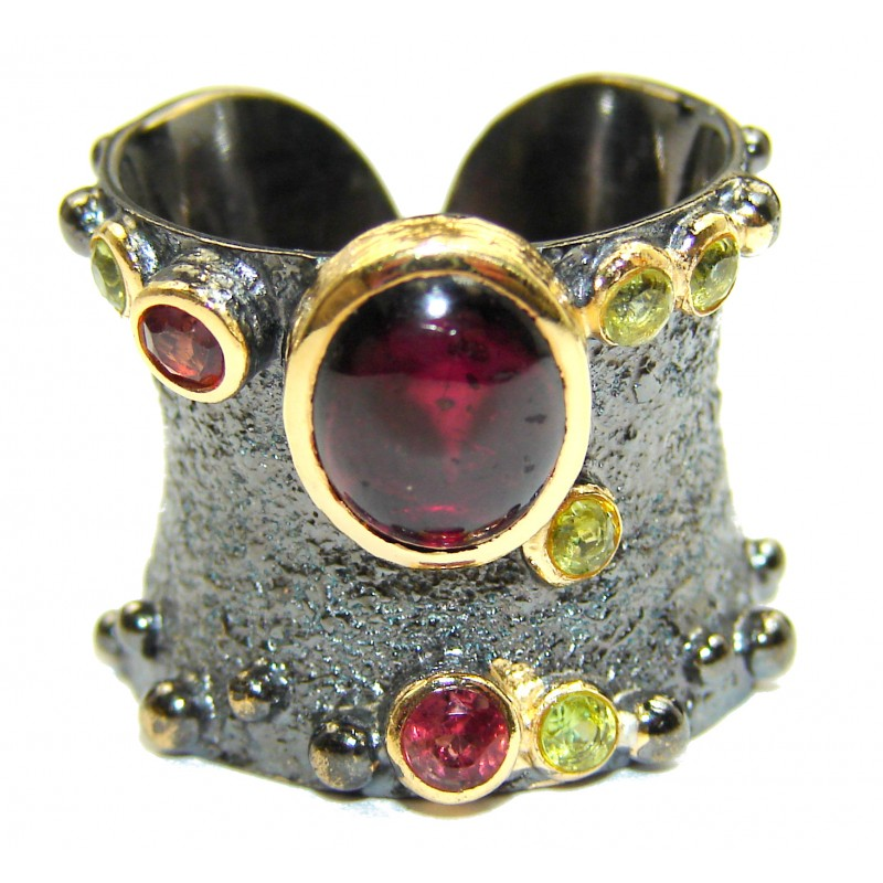 Genuine 28 ct Garnet 18ct Gold Rhodium over .925 Sterling Silver handmade Cocktail Ring s. 7 adjustable