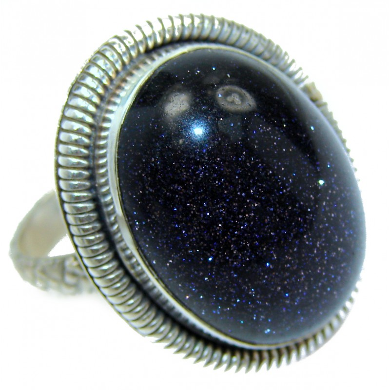 Natural Blue Sun Sitara .925 Sterling Silver Ring s. 8 3/4