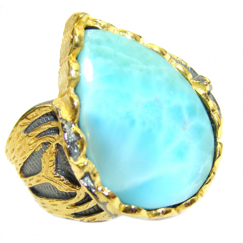 Vintage Design Natural Larimar 18K Gold over .925 Sterling Silver handcrafted Ring s. 6