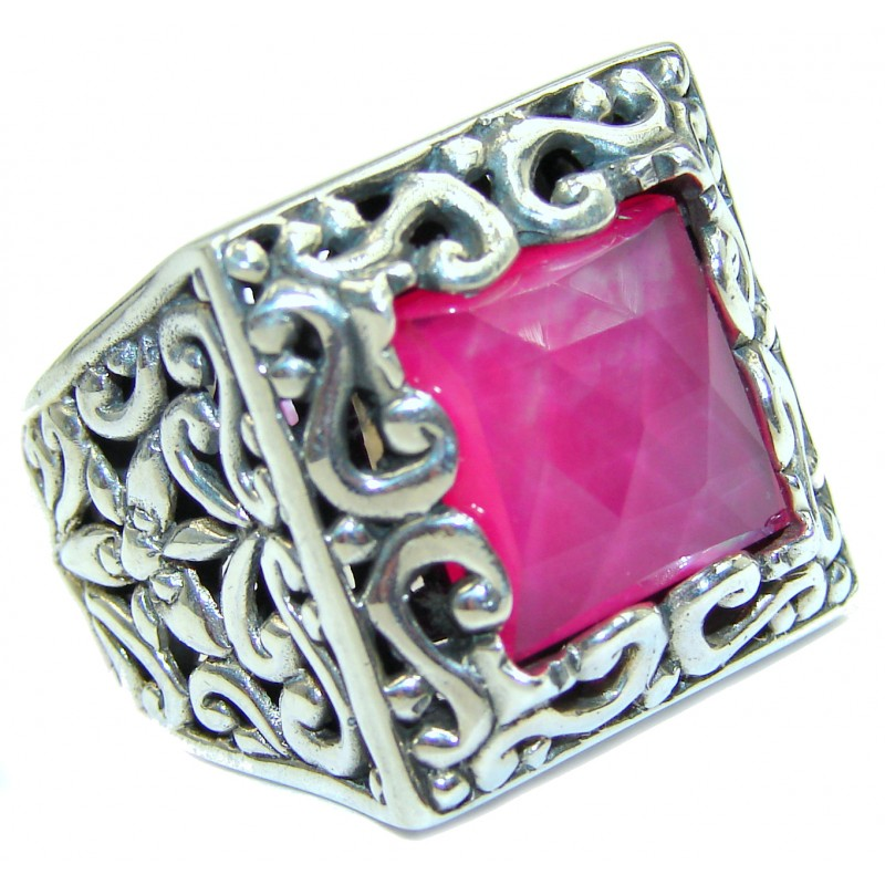 Pink Mother of Pearl .925 Sterling Silver hamdamde Ring s. 8