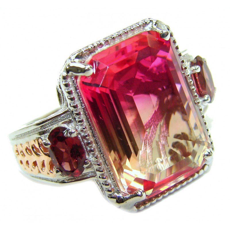 HUGE emerald cut Volcanic Pink Tourmaline Topaz .925 Sterling Silver handcrafted Ring s. 8