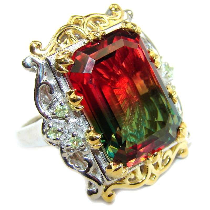 HUGE Emerald cut Watermelon Tourmaline color Topaz 18 K Gold over .925 Sterling Silver handcrafted Ring s. 8