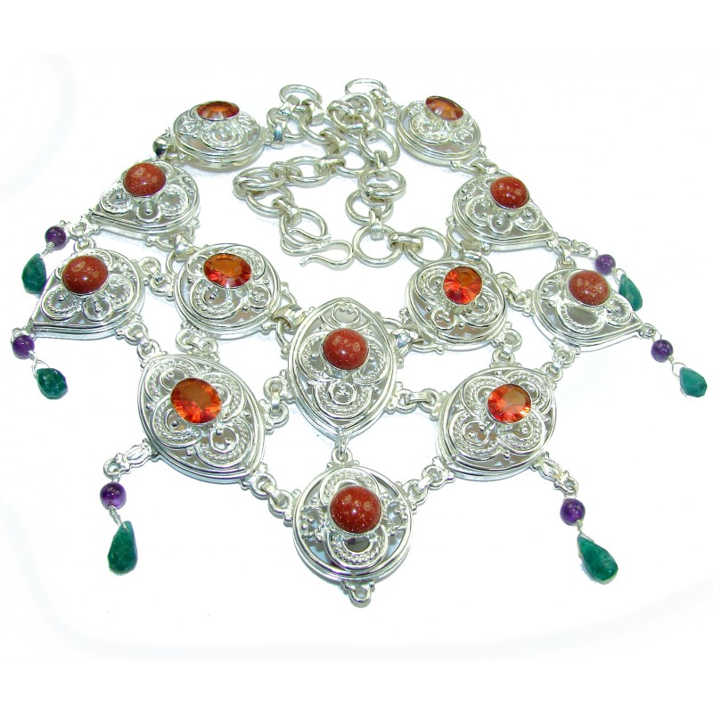 Jumbo Natural Bold Red Sitara .925 Sterling Silver handmade Necklace