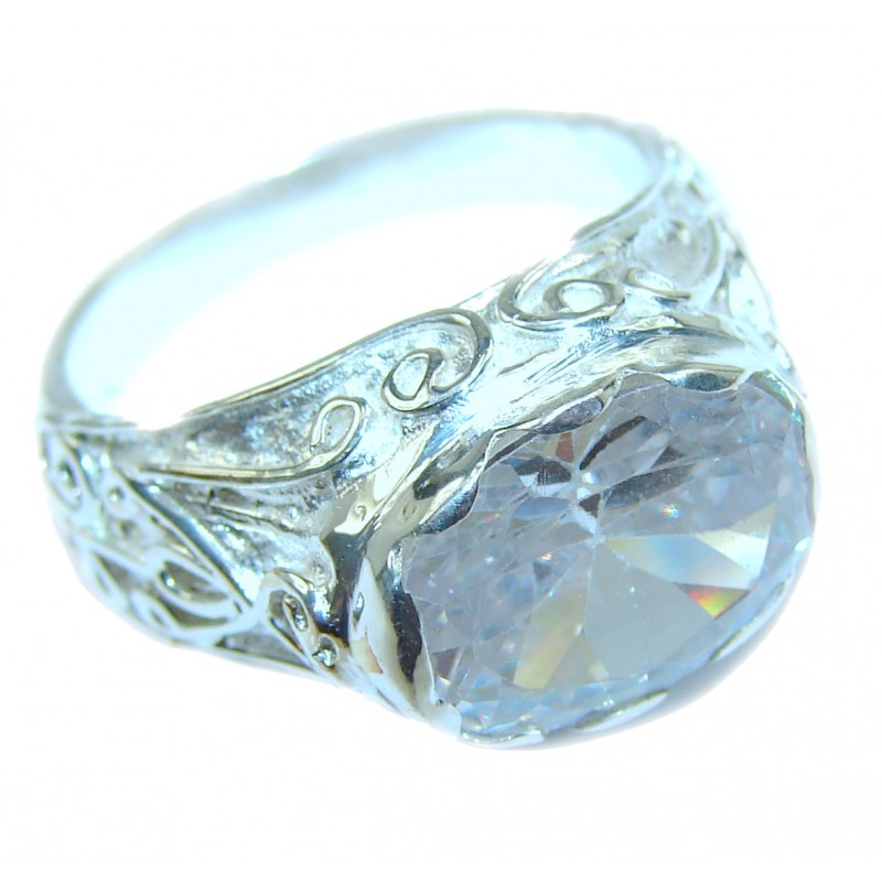 Huge White Topaz Sterling Silver ring; s. 9