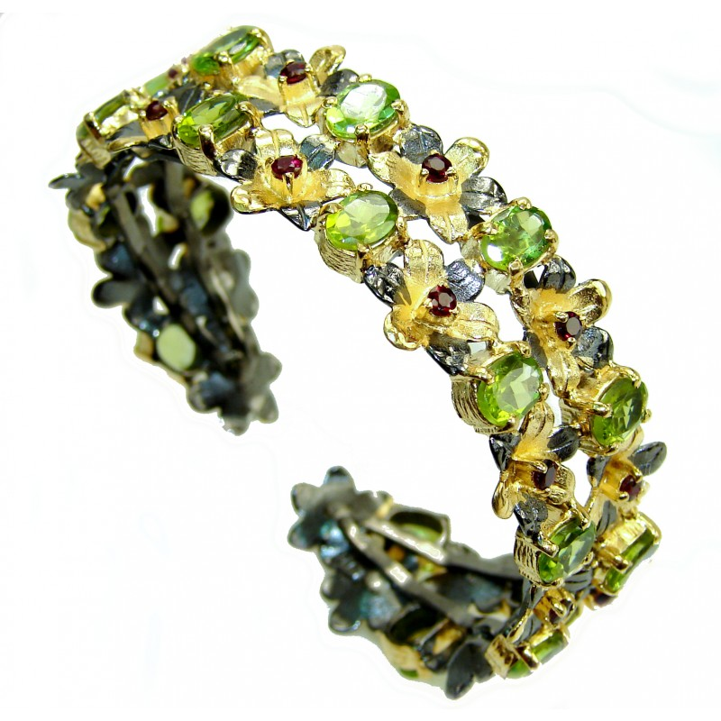 Chunky authentic Peridot 18K Gold over .925 Sterling Silver handcrafted Bracelet / Cuff