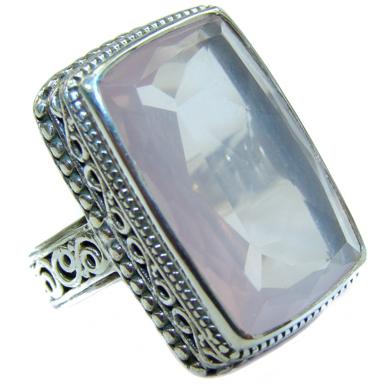 Gallery Piece 85ct. Natural Rose Quartz .925 Sterling Silver ring s. 6