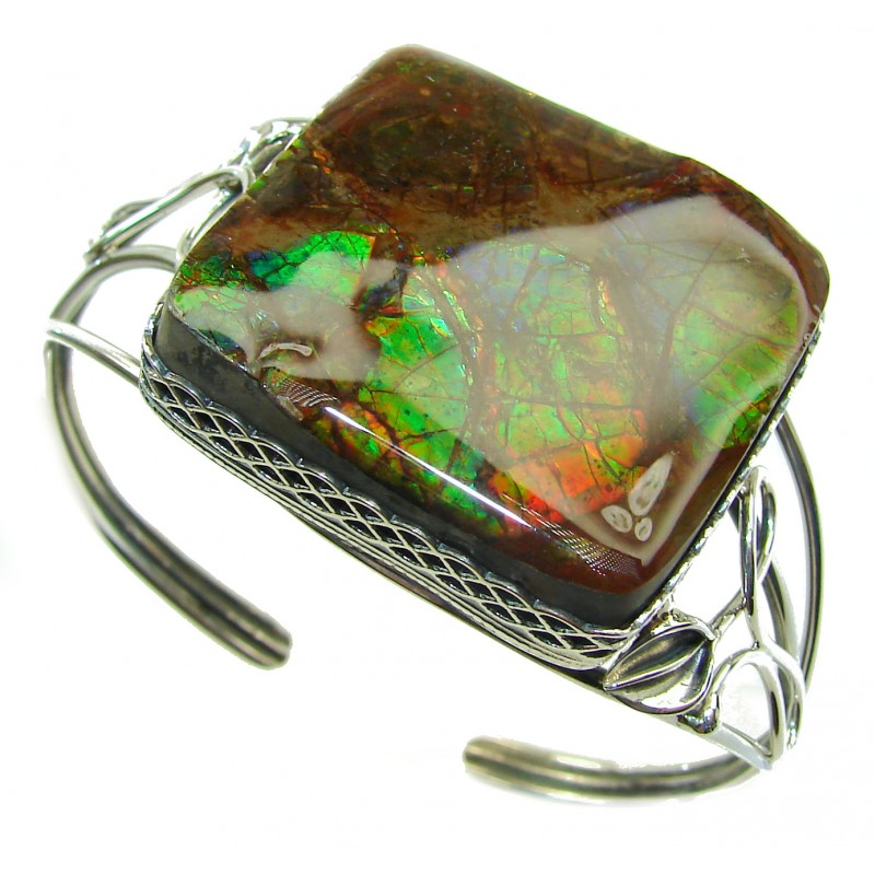 Simple Beauty natural Ammolite .925 Sterling Silver handmade Bracelet / Cuff