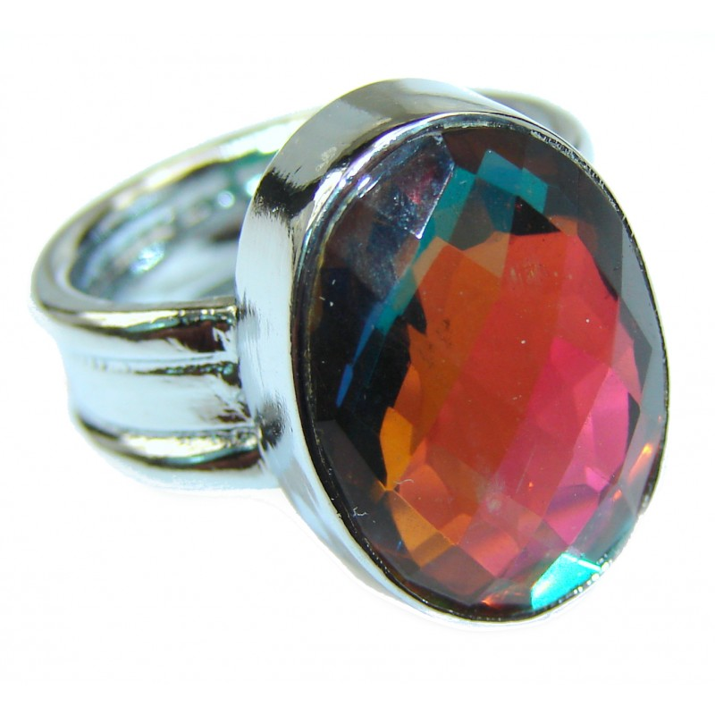 Rainbow Quartz .925 Sterling Silver handcrafted Ring Size 7