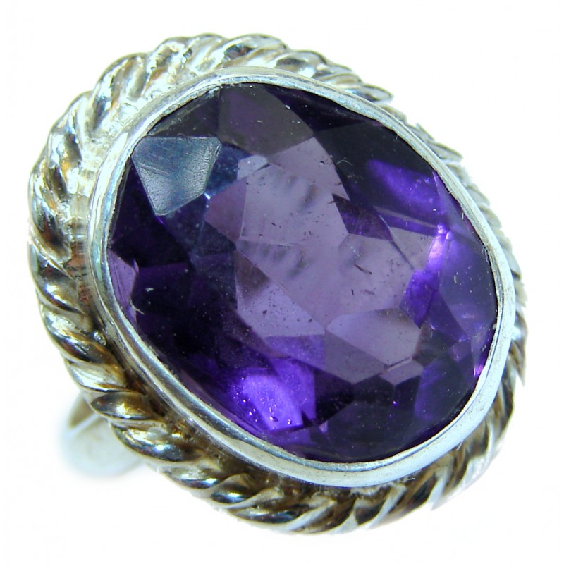 Spectacular genuine Amethyst .925 Sterling Silver handcrafted Ring size 6 1/4