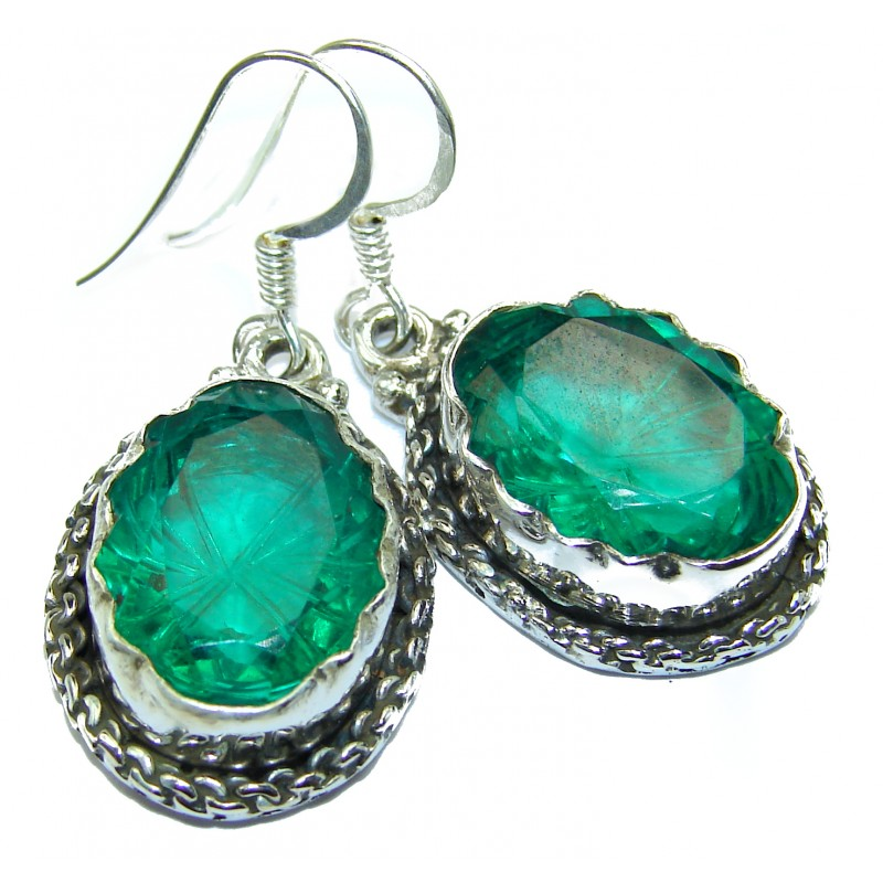 Carved genuine Quartz .925 Sterling Silver handcrafted Earrings