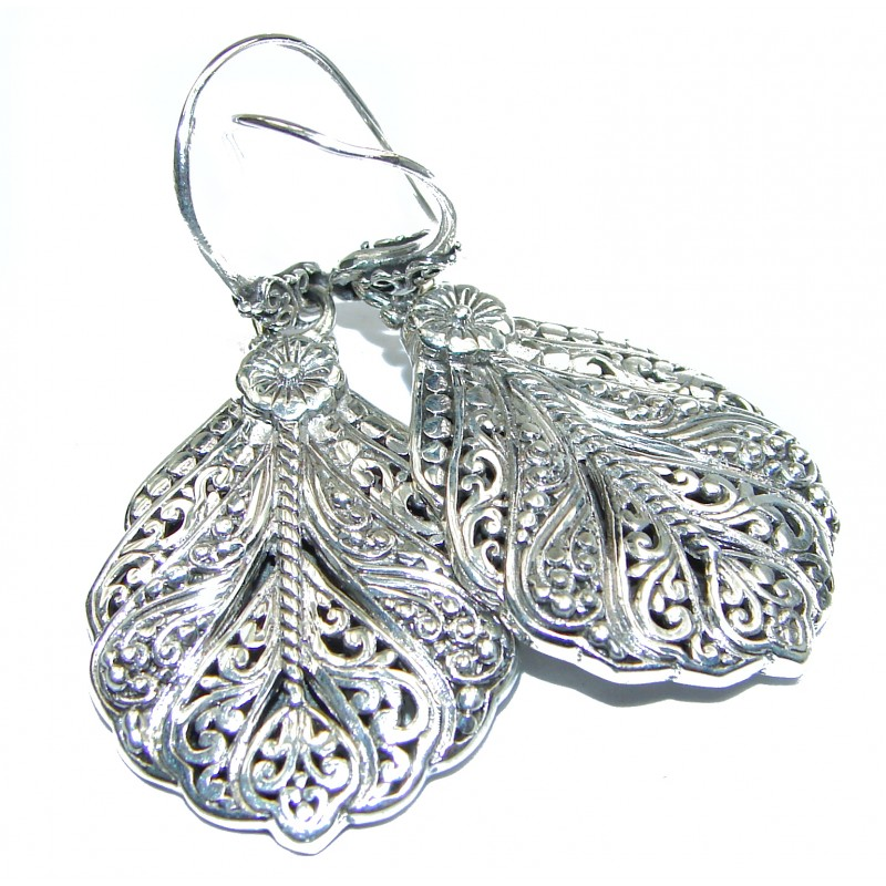LARGE Bali Design .925 Sterling Silver handcrafted Earrings