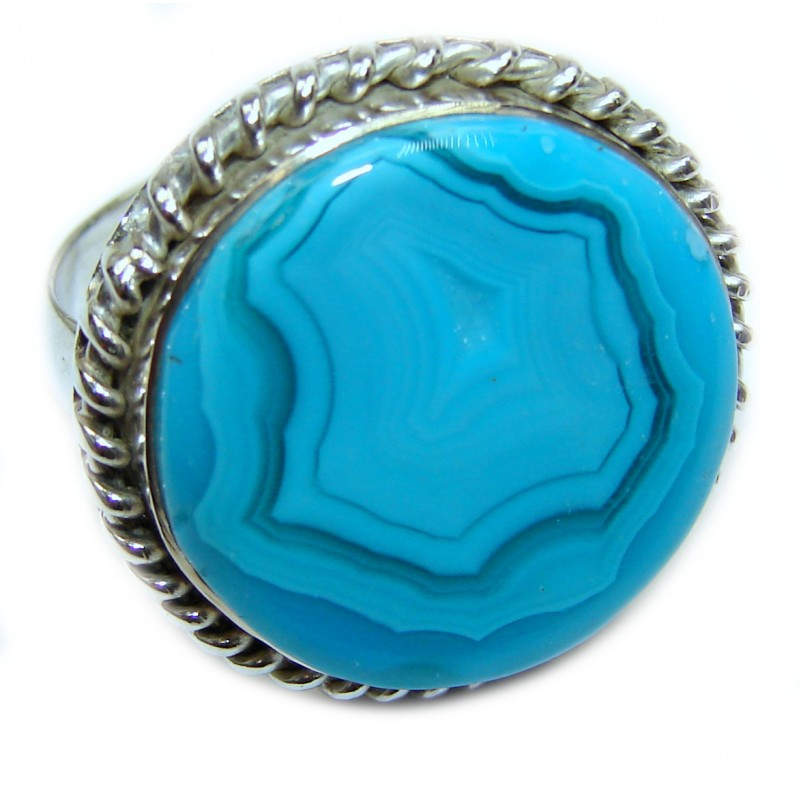 Exotic Agate Sterling Silver Ring s. 9