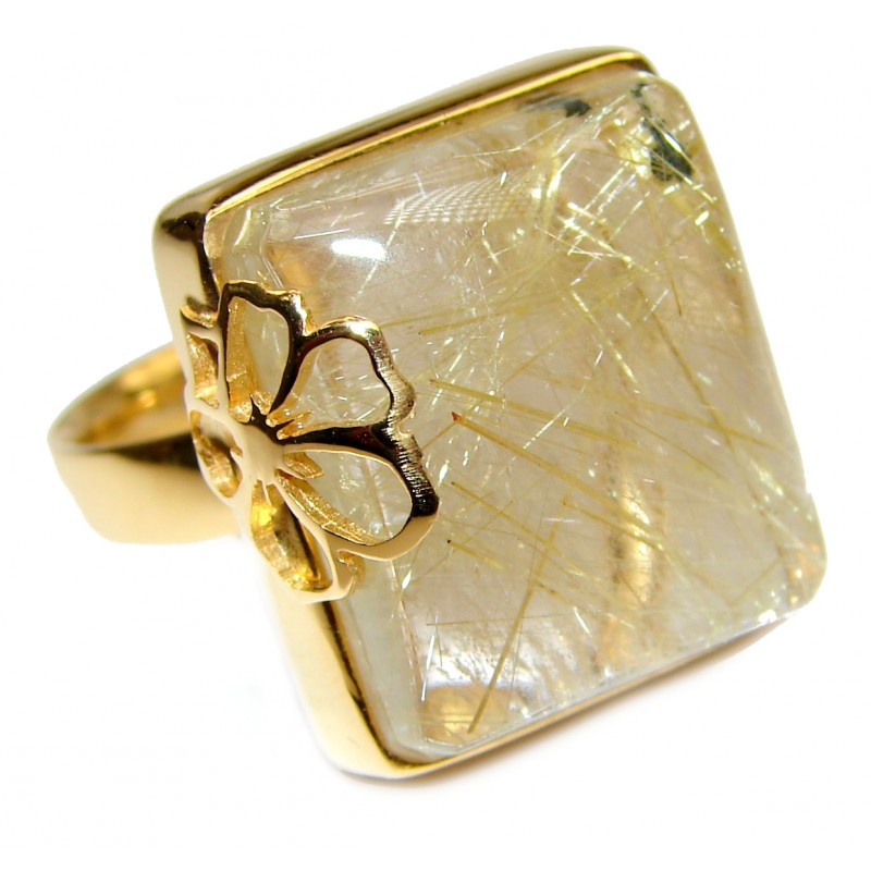 Golden Rutilated Quartz .925 Sterling Silver handcrafted Ring Size 8 adjustable