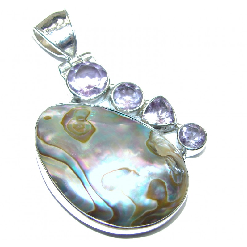 Natural Rainbow Abalone Amethyst .925 Sterling Silver handmade Pendant