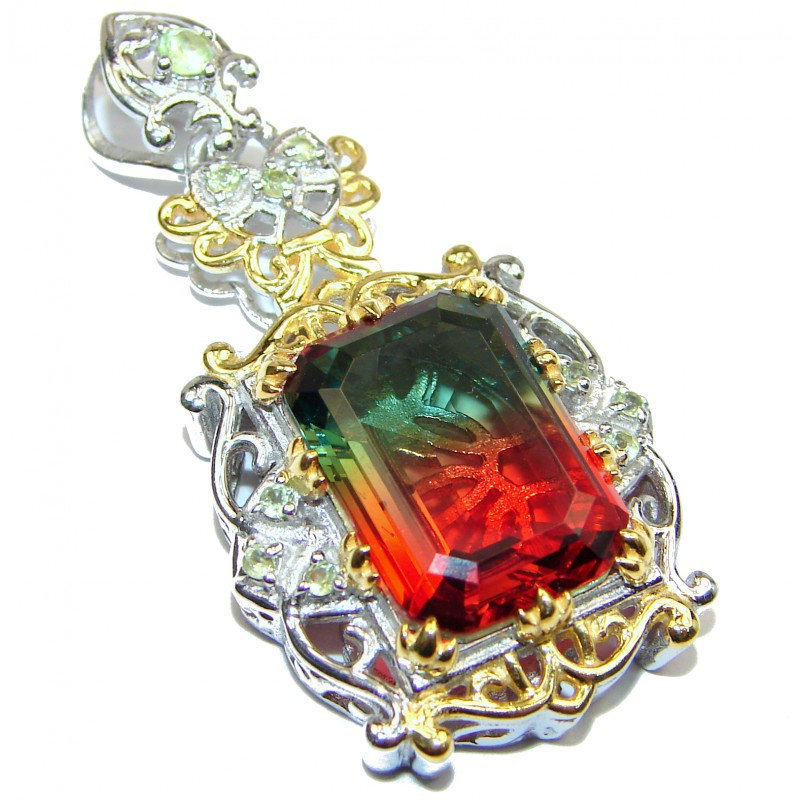 Deluxe emerald cut Tourmaline color Topaz 18K Gold over .925 Sterling Silver handmade Pendant