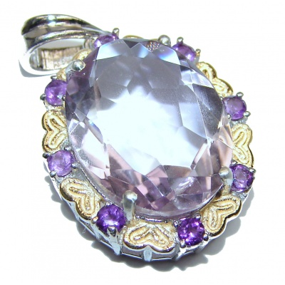 Royal Treaure Genuine 29ct Pink Amethyst 14K Gold .925 Sterling Silver handmade Pendant