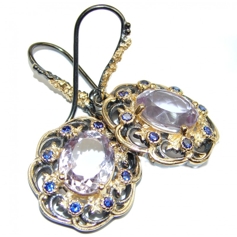 Vintage Design Pink Amethyst 18K Gold over .925 Sterling Silver handmade Earrings