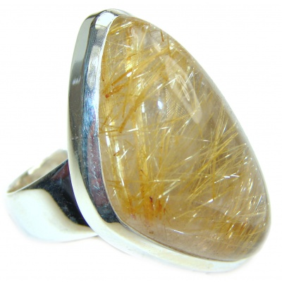 Golden Rutilated Quartz .925 Sterling Silver handcrafted Ring Size 7