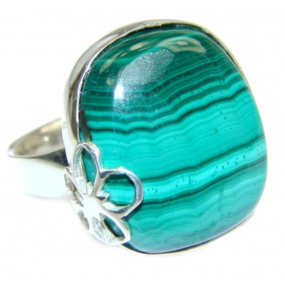 Natural Sublime quality Malachite .925 Sterling Silver handcrafted ring size 8 adjustable
