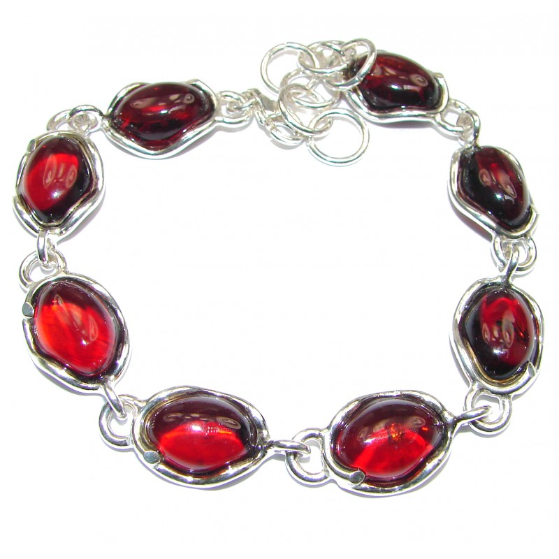 Beautiful Cognac Baltic Polish Amber .925 Sterling Silver handcrafted Bracelet