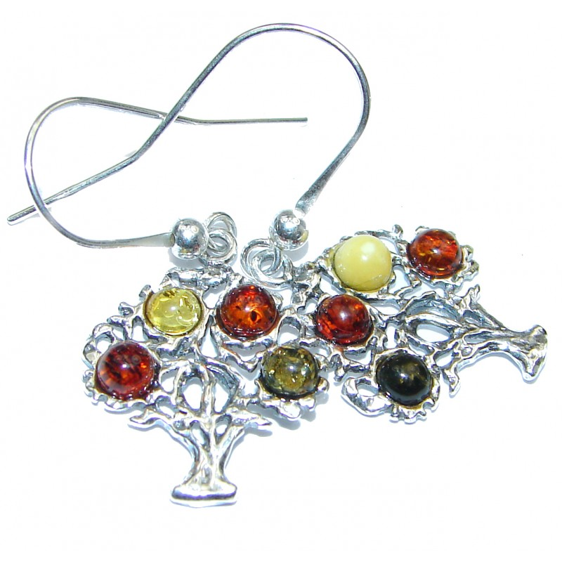 Family Tree Baltic Polish Amber Sterling Silver earrings