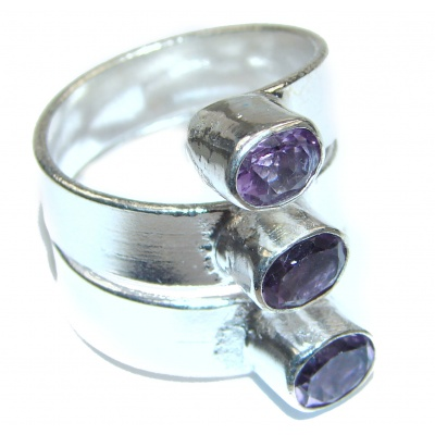 Large Spectacular genuine Amethyst .925 Sterling Silver handcrafted Ring size 9