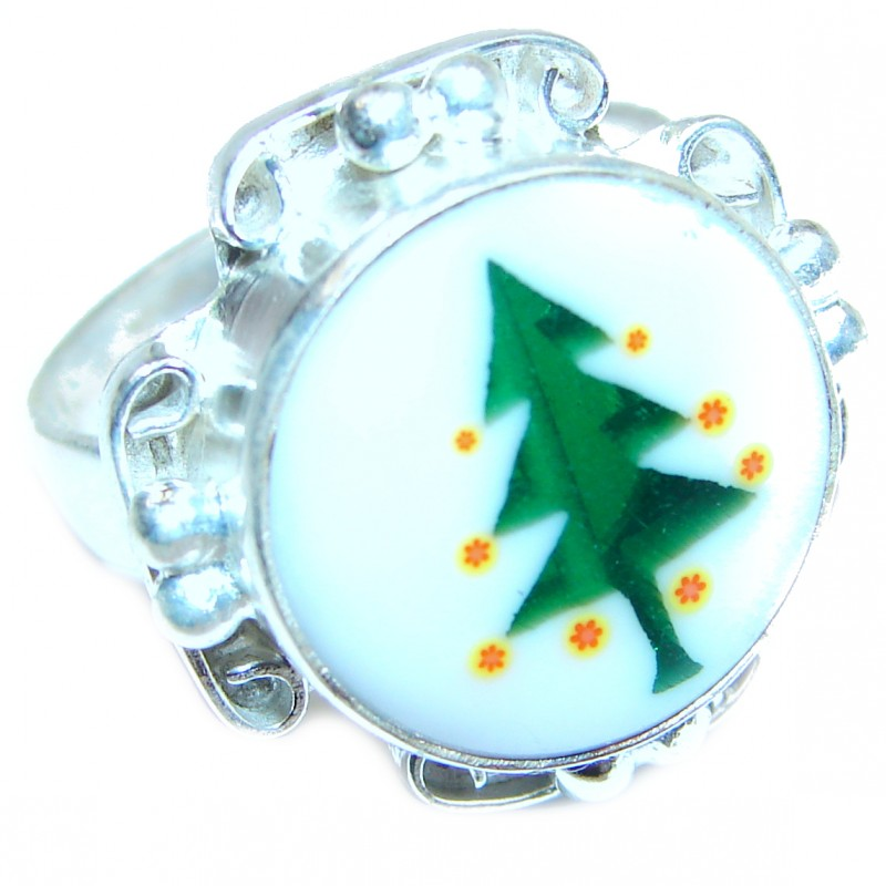 Christmas time .925 Sterling Silver handcrafted Ring size 9 1/4
